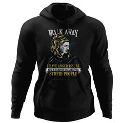 Shieldmaiden, Viking, Norse, Gym t-shirt & apparel, Walk Away, FrontApparel[Heathen By Nature authentic Viking products]Unisex Pullover HoodieBlackS