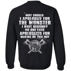 T-shirt, Viking, ApologizeApparel[Heathen By Nature authentic Viking products]Unisex Crewneck Pullover SweatshirtBlackS