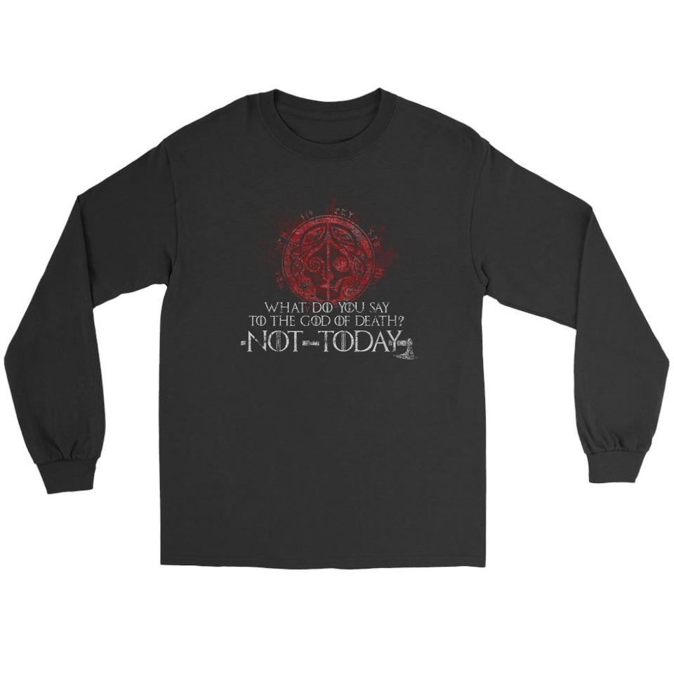 Teelaunch, What do you say to the God of death, FrontT-shirt[Heathen By Nature authentic Viking products]