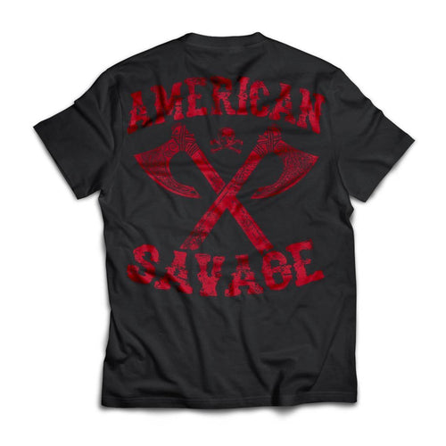 Viking apparel, American Savage, BackApparel[Heathen By Nature authentic Viking products]Next Level Premium Short Sleeve T-ShirtBlackX-Small