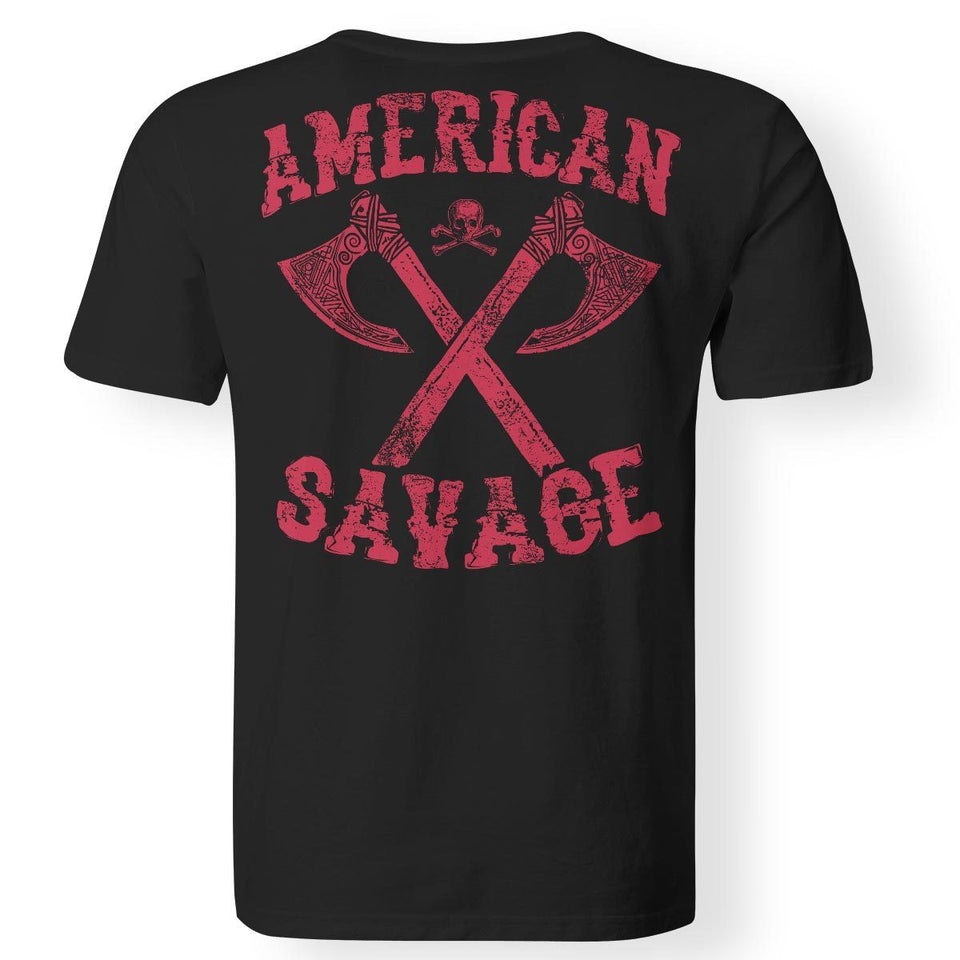 Viking apparel, American Savage, BackApparel[Heathen By Nature authentic Viking products]Premium Men T-ShirtBlackS