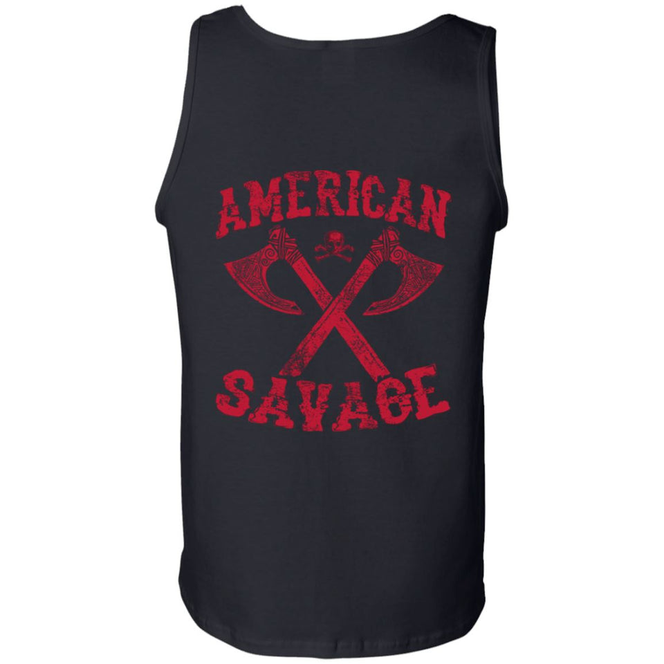 Viking apparel, American Savage, FrontApparel[Heathen By Nature authentic Viking products]Cotton Tank TopBlackS