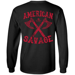 Viking apparel, American Savage, FrontApparel[Heathen By Nature authentic Viking products]Long-Sleeve Ultra Cotton T-ShirtBlackS