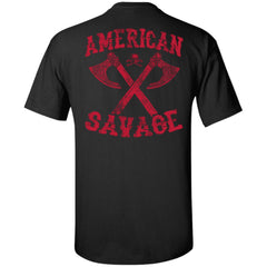 Viking apparel, American Savage, FrontApparel[Heathen By Nature authentic Viking products]Tall Ultra Cotton T-ShirtBlackXLT