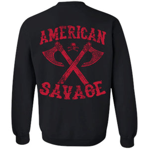 Viking apparel, American Savage, FrontApparel[Heathen By Nature authentic Viking products]Unisex Crewneck Pullover SweatshirtBlackS