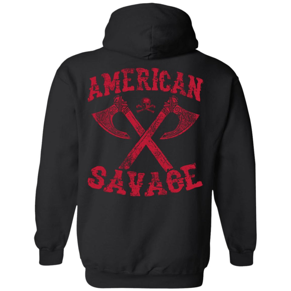 Viking apparel, American Savage, FrontApparel[Heathen By Nature authentic Viking products]Unisex Pullover HoodieBlackS
