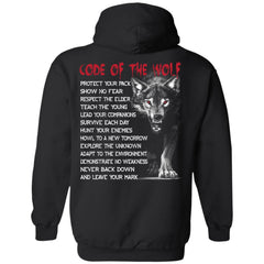 Viking apparel, code of the wolf, backApparel[Heathen By Nature authentic Viking products]Unisex Pullover HoodieBlackS
