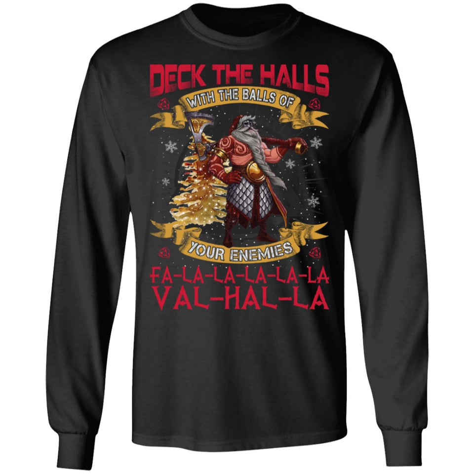 Viking apparel, Deck the halls with the ballsApparel[Heathen By Nature authentic Viking products]Long-Sleeve Ultra Cotton T-ShirtBlackS