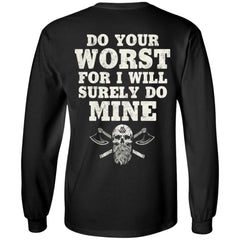 Viking apparel, do your worst, backApparel[Heathen By Nature authentic Viking products]Long-Sleeve Ultra Cotton T-ShirtBlackS