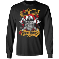 Viking apparel, Hail Odin Ya Filthy Animal, FrontApparel[Heathen By Nature authentic Viking products]Long-Sleeve Ultra Cotton T-ShirtBlackS