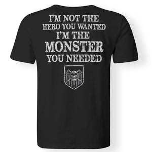Viking apparel, hero, monster, backApparel[Heathen By Nature authentic Viking products]Premium Men T-ShirtBlackS