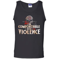 Viking Apparel, I Am Comfortable With Violence, FrontApparel[Heathen By Nature authentic Viking products]Cotton Tank TopBlackS