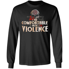 Viking Apparel, I Am Comfortable With Violence, FrontApparel[Heathen By Nature authentic Viking products]Long-Sleeve Ultra Cotton T-ShirtBlackS