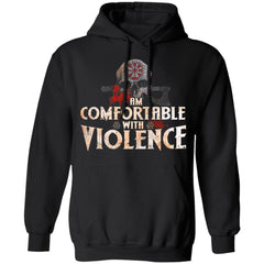 Viking Apparel, I Am Comfortable With Violence, FrontApparel[Heathen By Nature authentic Viking products]Unisex Pullover HoodieBlackS