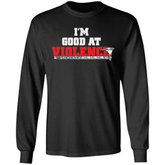 Viking apparel, I'm good at violence, frontApparel[Heathen By Nature authentic Viking products]Long-Sleeve Ultra Cotton T-ShirtBlackS