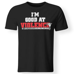Viking apparel, I'm good at violence, frontApparel[Heathen By Nature authentic Viking products]Premium Men T-ShirtBlackS