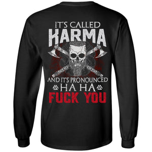 Viking apparel, It is called Karma, backApparel[Heathen By Nature authentic Viking products]Long-Sleeve Ultra Cotton T-ShirtBlackS
