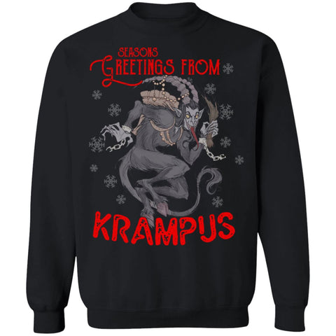 Viking Apparel, Krampus, FrontApparel[Heathen By Nature authentic Viking products]Unisex Crewneck Pullover Sweatshirt 8 oz.BlackS