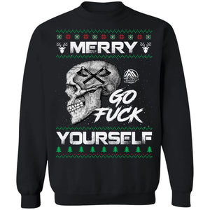 Viking apparel, Merry go f**k yourselfApparel[Heathen By Nature authentic Viking products]Unisex Crewneck Pullover SweatshirtBlackS