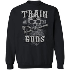Viking apparel, Train as the gods, frontApparel[Heathen By Nature authentic Viking products]Unisex Crewneck Pullover SweatshirtBlackS