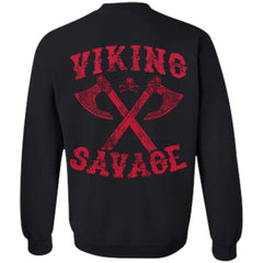 Viking apparel, viking savage, backApparel[Heathen By Nature authentic Viking products]Unisex Crewneck Pullover SweatshirtBlackS