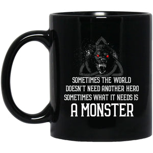 Viking mug, A monster, BlackApparel[Heathen By Nature authentic Viking products]BM11OZ 11 oz. Black MugBlackOne Size