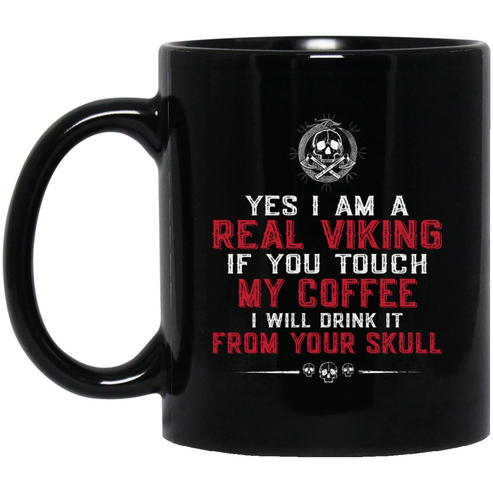 Viking Mug, I am a real vikingApparel[Heathen By Nature authentic Viking products]BM11OZ 11 oz. Black MugBlackOne Size