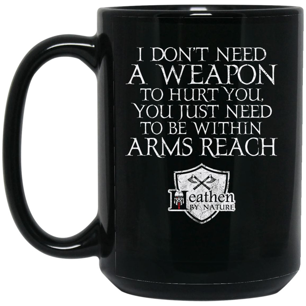 Viking Mug, Weapon, arms reach, BlackApparel[Heathen By Nature authentic Viking products]BM15OZ 15 oz. Black MugBlackOne Size