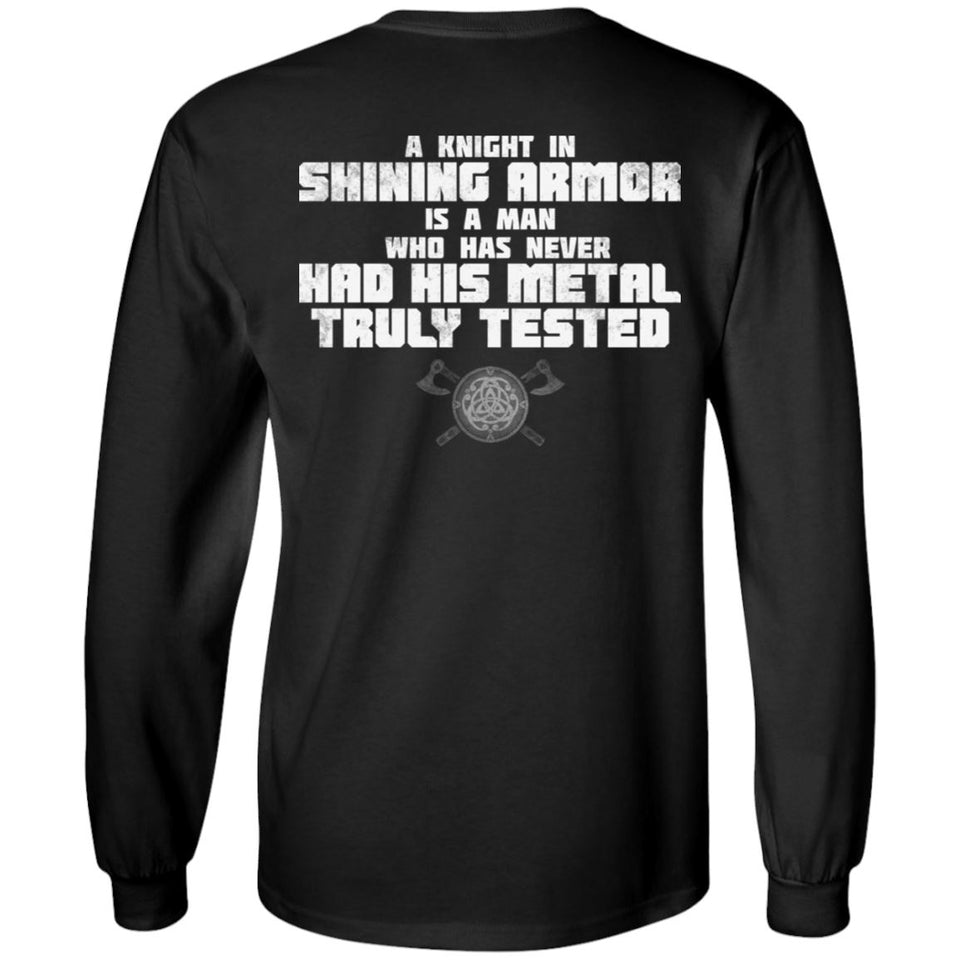 Viking, Norse, Gym t-shirt & apparel, A knight in shining armor, BackApparel[Heathen By Nature authentic Viking products]Long-Sleeve Ultra Cotton T-ShirtBlackS