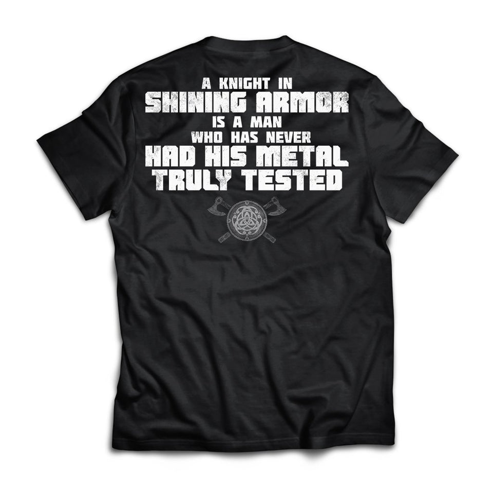 Viking, Norse, Gym t-shirt & apparel, A knight in shining armor, BackApparel[Heathen By Nature authentic Viking products]Next Level Premium Short Sleeve T-ShirtBlackX-Small