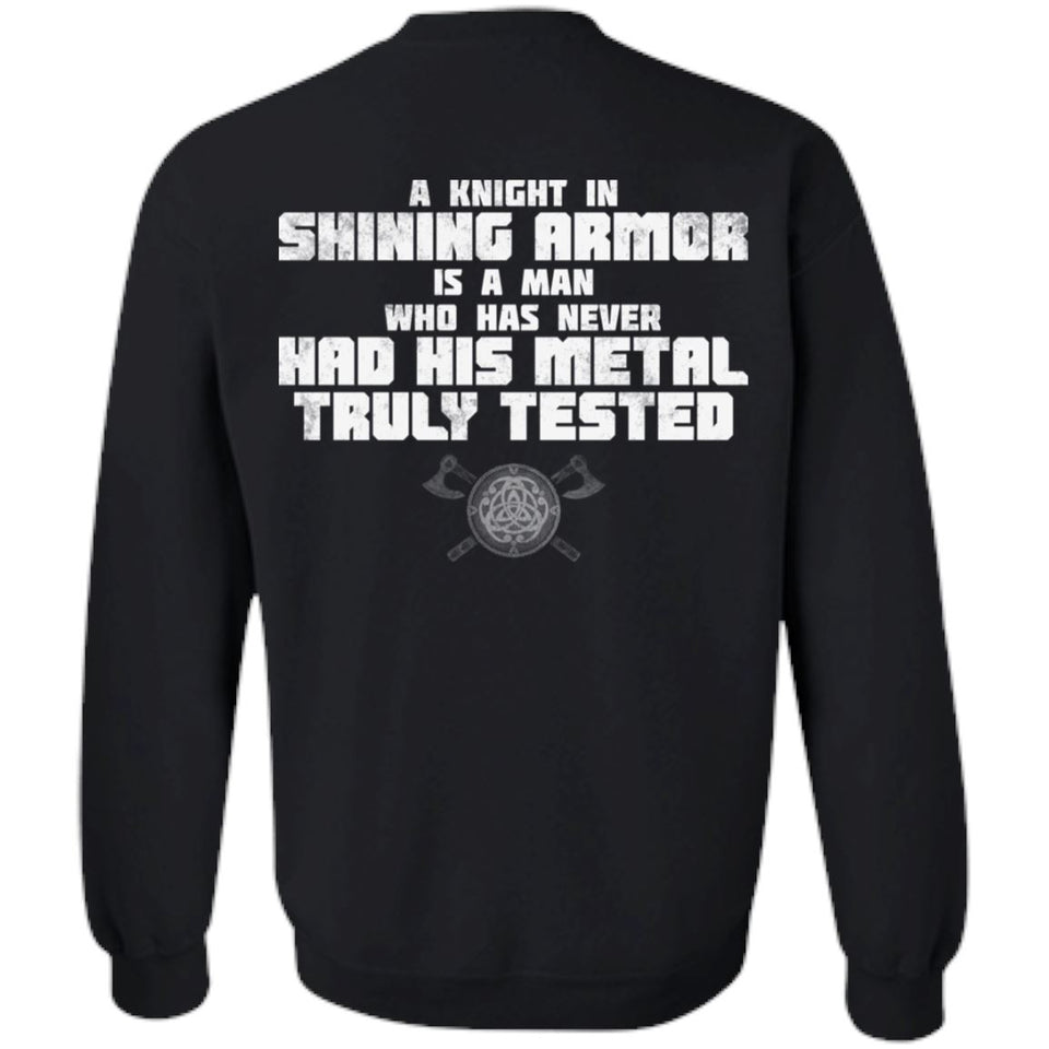 Viking, Norse, Gym t-shirt & apparel, A knight in shining armor, BackApparel[Heathen By Nature authentic Viking products]Unisex Crewneck Pullover SweatshirtBlackS