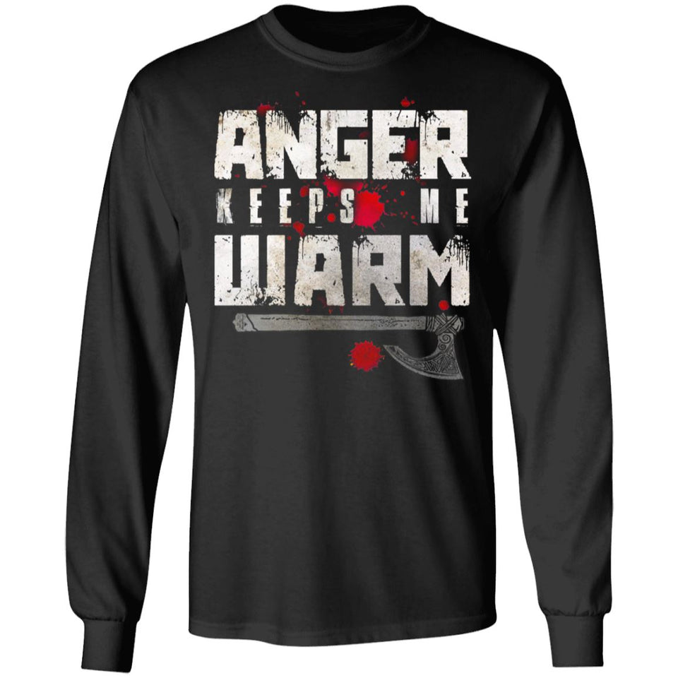 Viking, Norse, Gym t-shirt & apparel, Anger, FrontApparel[Heathen By Nature authentic Viking products]Long-Sleeve Ultra Cotton T-ShirtBlackS