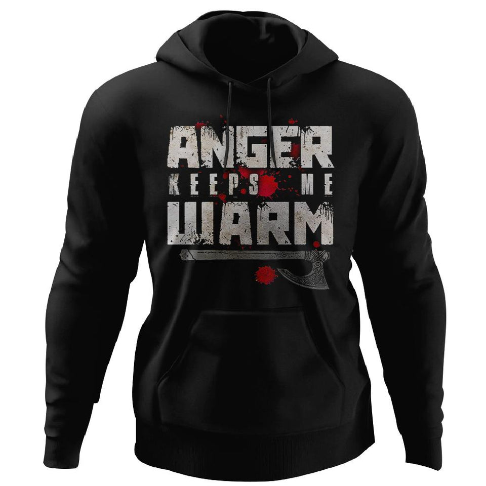 Viking, Norse, Gym t-shirt & apparel, Anger, FrontApparel[Heathen By Nature authentic Viking products]Unisex Pullover HoodieBlackS