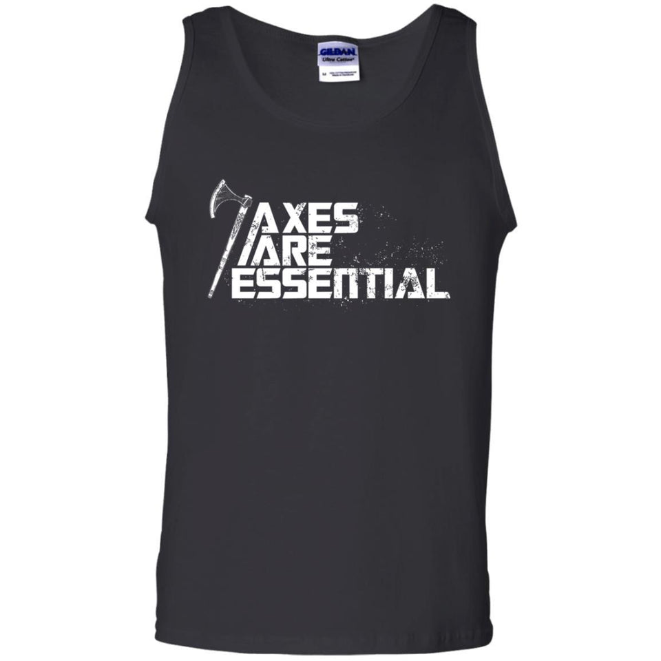 Viking, Norse, Gym t-shirt & apparel, Axes are essential, FrontApparel[Heathen By Nature authentic Viking products]Cotton Tank TopBlackS