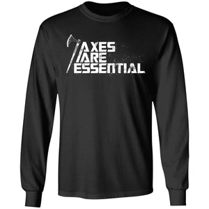 Viking, Norse, Gym t-shirt & apparel, Axes are essential, FrontApparel[Heathen By Nature authentic Viking products]Long-Sleeve Ultra Cotton T-ShirtBlackS