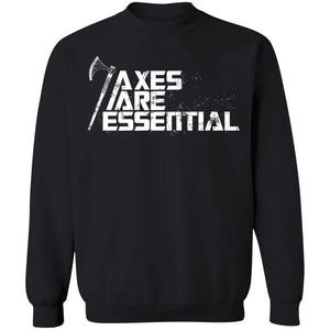 Viking, Norse, Gym t-shirt & apparel, Axes are essential, FrontApparel[Heathen By Nature authentic Viking products]Unisex Crewneck Pullover SweatshirtBlackS