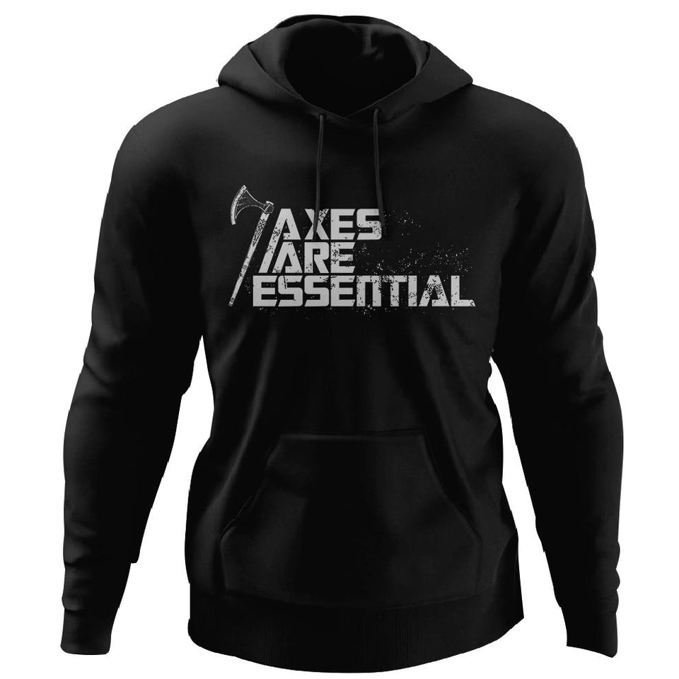 Viking, Norse, Gym t-shirt & apparel, Axes are essential, FrontApparel[Heathen By Nature authentic Viking products]Unisex Pullover HoodieBlackS