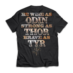 Viking, Norse, Gym t-shirt & apparel, Be Wise Strong Brave, BackApparel[Heathen By Nature authentic Viking products]Next Level Premium Short Sleeve T-ShirtBlackX-Small