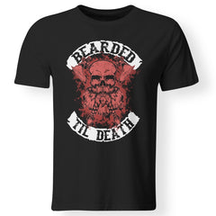 Viking, Norse, Gym t-shirt & apparel, Bearded till death , FrontApparel[Heathen By Nature authentic Viking products]Premium Men T-ShirtBlackS