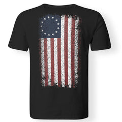 Viking, Norse, Gym t-shirt & apparel, Betsy Ross Flag, BackApparel[Heathen By Nature authentic Viking products]Premium Men T-ShirtBlackS