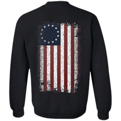 Viking, Norse, Gym t-shirt & apparel, Betsy Ross Flag, BackApparel[Heathen By Nature authentic Viking products]Unisex Crewneck Pullover SweatshirtBlackS