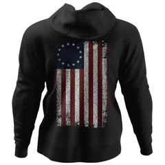 Viking, Norse, Gym t-shirt & apparel, Betsy Ross Flag, BackApparel[Heathen By Nature authentic Viking products]Unisex Pullover HoodieBlackS