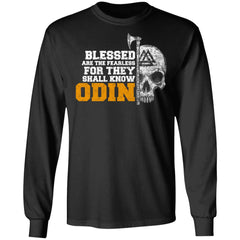 Viking, Norse, Gym t-shirt & apparel, Blessed are the fearless, frontApparel[Heathen By Nature authentic Viking products]Long-Sleeve Ultra Cotton T-ShirtBlackS