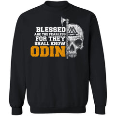 Viking, Norse, Gym t-shirt & apparel, Blessed are the fearless, frontApparel[Heathen By Nature authentic Viking products]Unisex Crewneck Pullover SweatshirtBlackS