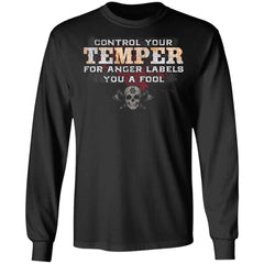 Viking, Norse, Gym t-shirt & apparel, Control your temper, FrontApparel[Heathen By Nature authentic Viking products]Long-Sleeve Ultra Cotton T-ShirtBlackS
