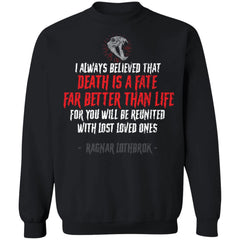 Viking, Norse, Gym t-shirt & apparel, Death Is A Fate, FrontApparel[Heathen By Nature authentic Viking products]Unisex Crewneck Pullover SweatshirtBlackS
