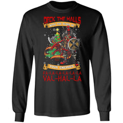 Viking, Norse, Gym t-shirt & apparel, Deck The Halls Valhalla, FrontApparel[Heathen By Nature authentic Viking products]Long-Sleeve Ultra Cotton T-ShirtBlackS