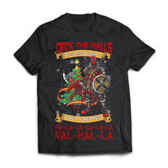 Viking, Norse, Gym t-shirt & apparel, Deck The Halls Valhalla, FrontApparel[Heathen By Nature authentic Viking products]Next Level Premium Short Sleeve T-ShirtBlackX-Small