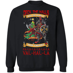 Viking, Norse, Gym t-shirt & apparel, Deck The Halls Valhalla, FrontApparel[Heathen By Nature authentic Viking products]Unisex Crewneck Pullover SweatshirtBlackS