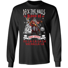 Viking, Norse, Gym t-shirt & apparel, Deck the halls with the blood, FrontApparel[Heathen By Nature authentic Viking products]Long-Sleeve Ultra Cotton T-ShirtBlackS